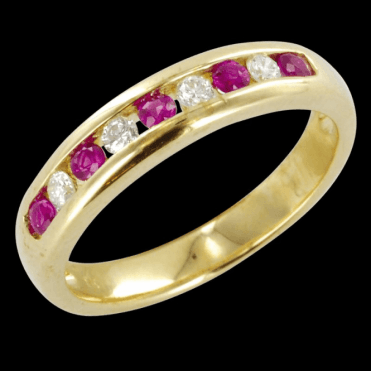 The Hamptons Half Eternity Ring in Ruby & Diamond