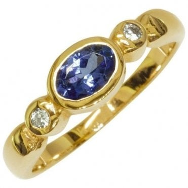 Ladies Shipton and Co Exclusive 9ct Yellow Gold Diamond and Tanzanite Ring RYX080TZ