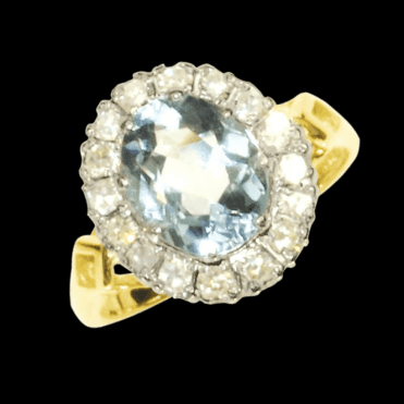 Ladies Shipton and Co Exclusive 18ct Yellow Gold and Aquamarine Ring RZ1097AQ
