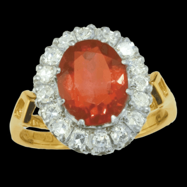 Ladies Shipton and Co Exclusive 18ct Yellow Gold Diamond and Fire Opal Ring RZ1097FO