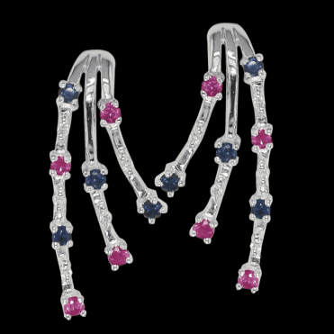Diamond, Sapphire & Ruby Earrings