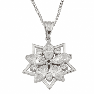 "Ladies Shipton and Co  9ct White Gold and Cubic Zirconia  Pendant including a 18 to 16"" White Gold Chain TEM009CZ"