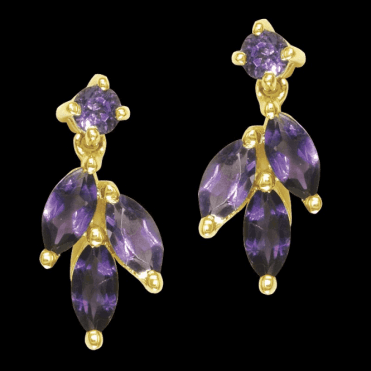 Ladies Shipton and Co Exclusive 9ct Yellow Gold and Amethyst Earrings EYG001AM