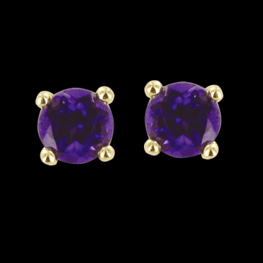 Ladies Shipton and Co Exclusive 9ct Yellow Gold and Amethyst Earrings EYG026AM