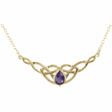 Ladies Shipton and Co Exclusive 9ct Yellow Gold and Amethyst Necklace NY1877AM