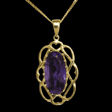 Ladies Shipton and Co Exclusive 9ct Yellow Gold and Amethyst Pendant including a 16 9ct Chain PY2025AM