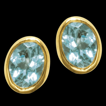 Ladies Shipton and Co Exclusive 9ct Yellow Gold and Aquamarine Earrings EY1221AQ