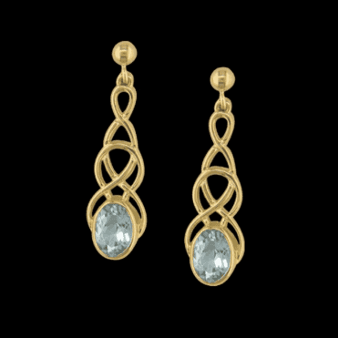 Ladies Shipton and Co Exclusive 9ct Yellow Gold and Aquamarine Earrings EY1866AQ