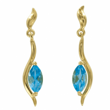 Ladies Shipton and Co Exclusive 9ct Yellow Gold and Blue Topaz Earrings EYG033BT