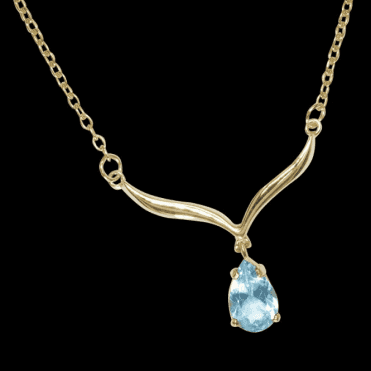 Ladies Shipton and Co Exclusive 9ct Yellow Gold and Blue Topaz Necklace NY2220BT