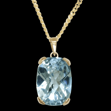 Ladies Shipton and Co 9ct Yellow Gold and Blue Topaz Pendant including a 16 9ct Chain PY2214BT