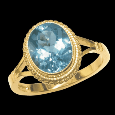 Ladies Shipton and Co Exclusive 9ct Yellow Gold and Blue Topaz Ring RY1003BT