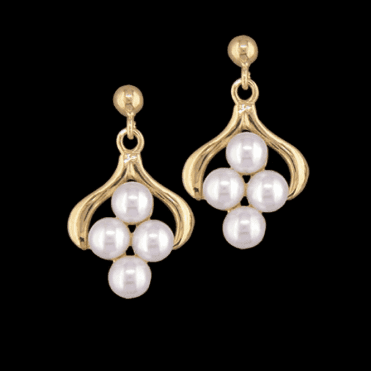 Ladies Shipton and Co Exclusive 9ct Yellow Gold and Cultured Pearls Earrings EY1841CP