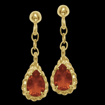 Ladies Shipton and Co Exclusive 9ct Yellow Gold and Fire Opal Earrings EY1264FO