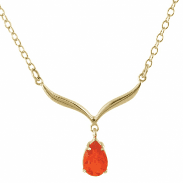 Ladies Shipton and Co Exclusive 9ct Yellow Gold and Fire Opal Necklace NY2220FO
