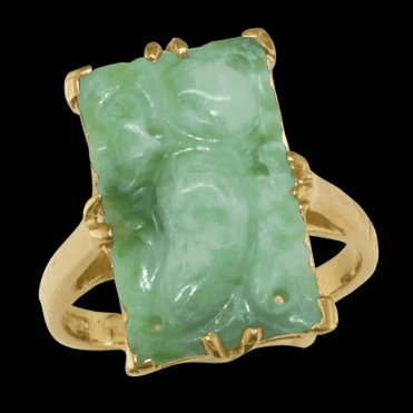 Ladies Shipton and Co Exclusive 9ct Yellow Gold and Green Jade & Jadeite Ring S07693GJ
