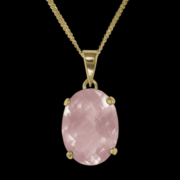 Ladies Shipton and Co 9ct Yellow Gold and Rose Quartz Pendant including a 16 9ct Chain PY1352RQ1