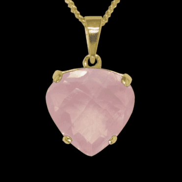 Ladies Shipton and Co 9ct Yellow Gold and Rose Quartz Pendant including a 16 9ct Chain PY1876RQ1
