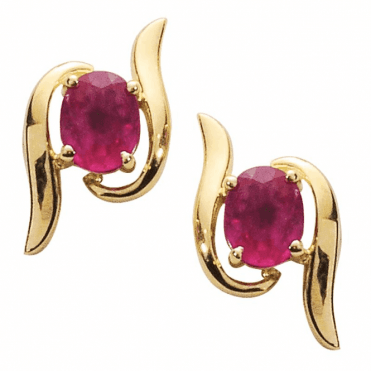 Ladies Shipton and Co Exclusive 9ct Yellow Gold and Ruby Earrings EYG031RU