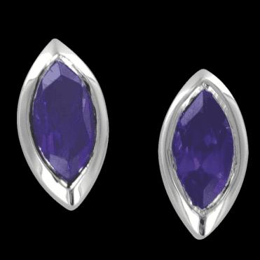 Sterling Silver Cascade Earrings of Amethyst