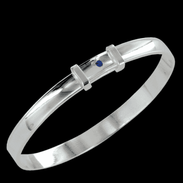 Ladies Shipton and Co Silver and Blue Sapphire Bangle TOJ199BS