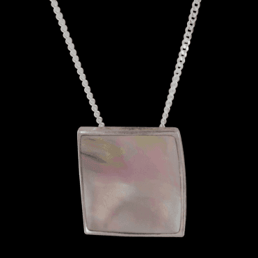 Ladies Shipton and Co Exclusive Silver Rectangular Pink Mother of Pearl Pendant including a 16 Silver Chain TKW076PM