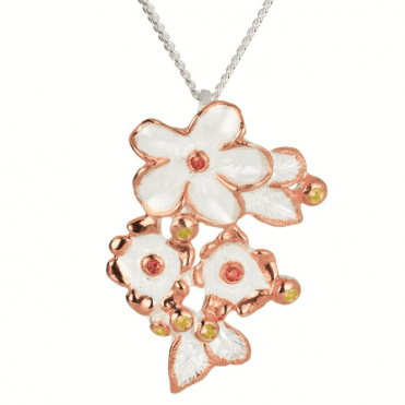 Ladies Shipton and Co Exclusive Silver Red and Yellow Sapphire Romantic Bouquet Pendant including a 16 Silver Chain TGO001RSYS