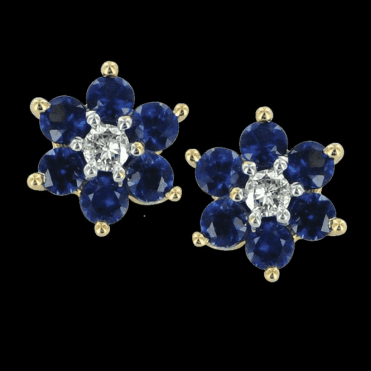 Sapphire & Diamond Daisy Cluster Earrings