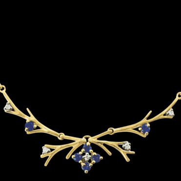 Ladies Shipton and Co Exclusive 9ct Yellow Gold Blue Sapphire and Diamond Antler Necklace NYD007BSD