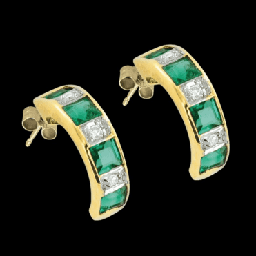 Ladies Shipton and Co Exclusive 9ct Yellow Gold Diamond and Emerald Earrings EYD088EMD