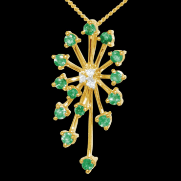 Ladies Shipton and Co Exclusive 9ct Yellow Gold Starburst Emerald and Diamond Pendant including a 16 9ct Chain PYD012EMD