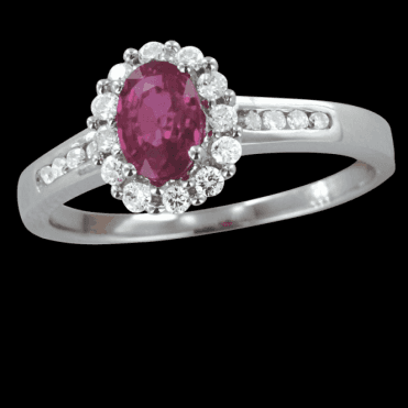 Ruby Ring Lit By Twenty Diamonds Totalling a Quarter of a Carat
