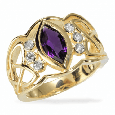 Ladies Shipton and Co Exclusive 9ct Yellow Gold Large Marquise Amethyst and 20pt Diamond Ring RYD104AMD