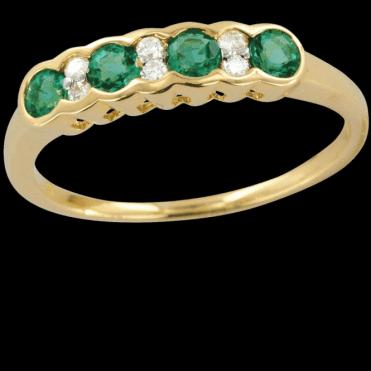 Incomparable Shipton & Co Gemstone Quality Half Eternity Emerald & Diamond Wave Ring
