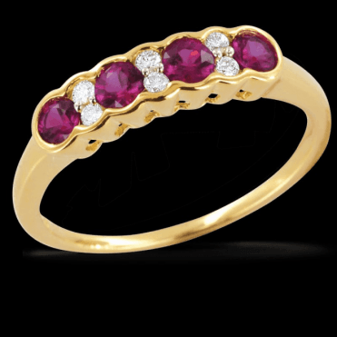Incomparable Shipton & Co Gemstone Quality Half Eternity Ruby & Diamond Wave Ring