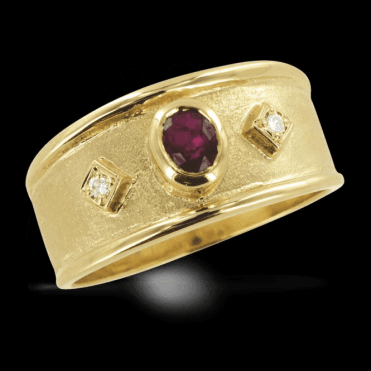 Medieval Court Ring of Ruby & Diamonds