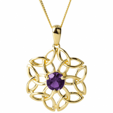"Ladies Shipton and Co Exclusive 9ct Yellow Gold and Amethyst  Pendant including a 16"" 9ct Chain  PYG034AM"