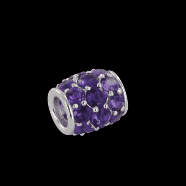 Ladies Shipton and Co  Silver and Amethyst Pave Barrel Charm  DQA243AM