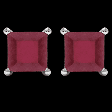 Ladies Shipton and Co Silver and Flame Red Square Ruby Earrings TJZ001RU