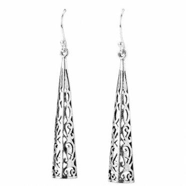 Ladies Shipton and Co Tapered Saw Pierced Bar Drop Silver Earrings TDA027NS