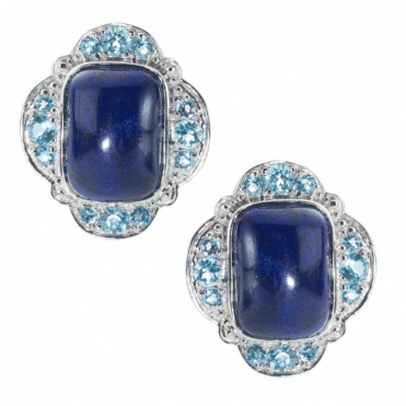 Ladies Shipton and Co Silver and Cushion Lapis Lazuli and Blue Topaz Clip Fitting Earrings for Pierced Ears EQA331LLBT
