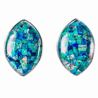 Ladies Shipton and Co Silver and 20x10mm Marquise Opal Mosaic Triplet Clip Fitting Earrings for Unpierced Ears TSN050OT