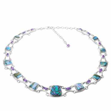 Ladies Shipton and Co Silver and Paua Shell Cushions with Marquise Amethysts Necklace TKW489PAAM