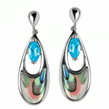 Islands of Blue Topaz & Sea Green Paua