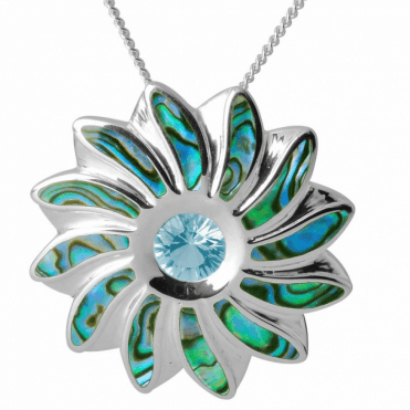 Ladies Shipton and Co Silver and Paua Shell and Blue Topaz Flower Pendant including a 16 Silver Chain TKW486PABT