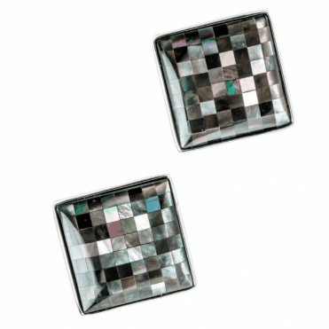Ladies Shipton and Co Silver and 16mm Square Black Mosaic Mother of Pearl Clip Fitting Earrings for Unpierced Ears TSN049PM