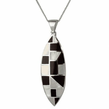 Ladies Shipton and Co Silver and Mother of Pearl and Onyx Patchwork Art Deco Marquise Shaped Pendant TKW495PMON