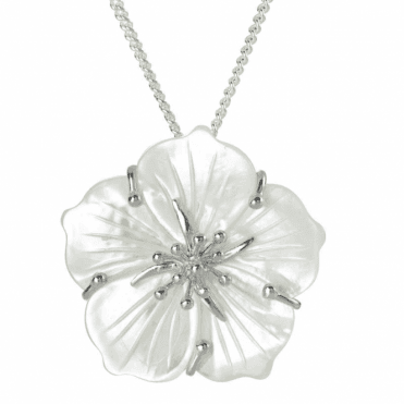 Ladies Shipton and Co Silver and Mother of Pearl Carved Flower Pendant including a 16 Silver Chain TTL232PM