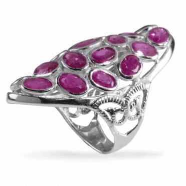 Bohemian 21-Stone Ruby Ring