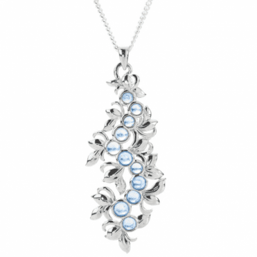 Ladies Shipton and Co Exclusive Silver and Round Moonstones Leaf Design Pendant PQA337MS